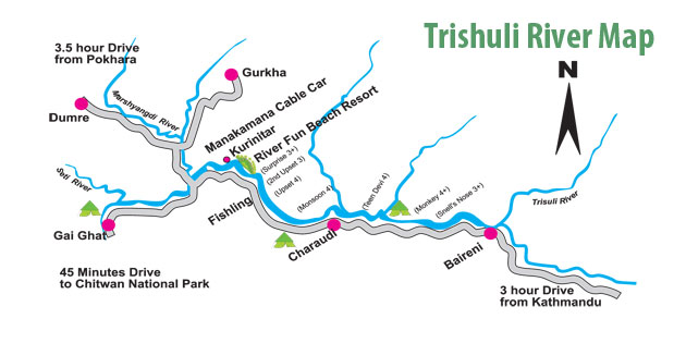 Trishuli River Rafting Nepal River Map